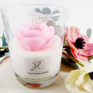 Hand Crafted Accents - Camellia flower soy wax candle, gift, home decor